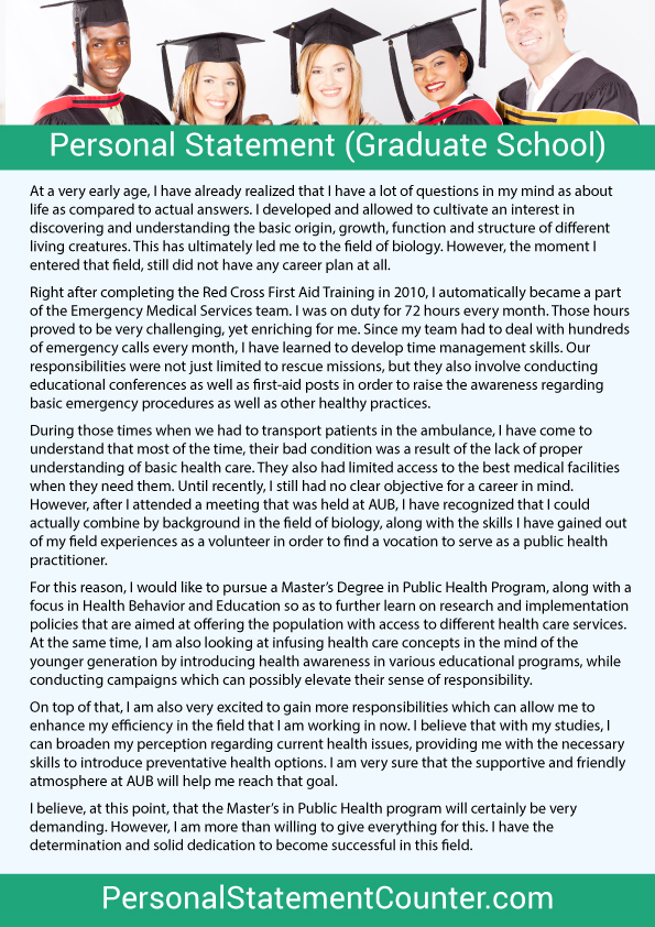 Personal statement graduate school