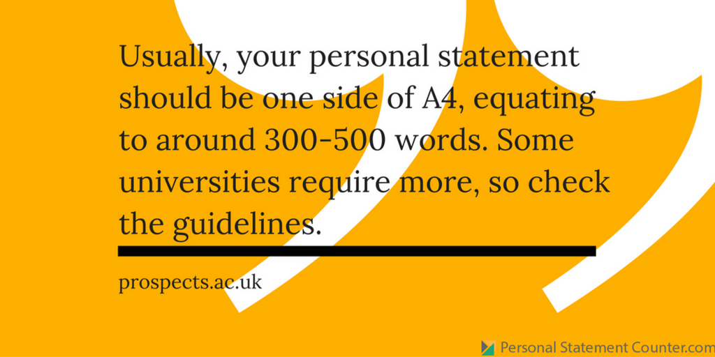 personal statement for postgraduate application length